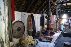 Inside the sod hut.