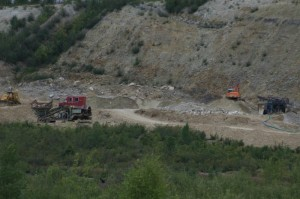 Gravel bank with gold